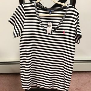 Ralph Lauren NWT Striped Vneck short sleeve shirt